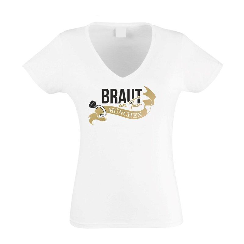 Braut on Tour - München JGA - Damen T-Shirt V-Neck