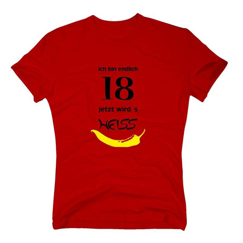 endlich 18 jetzt wird 39 s heiss t shirt zum geburtstag. Black Bedroom Furniture Sets. Home Design Ideas