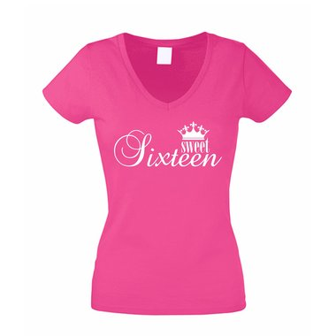 Damen V-Neck T-Shirt - Sweet Sixteen