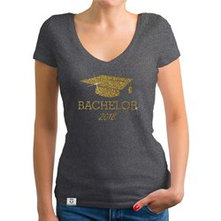 Damen T-Shirt V-Neck - Bachelor 2018 - Glitzer