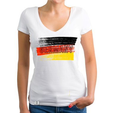 Damen T-Shirt V-Neck - WM EM - Germany Flagge