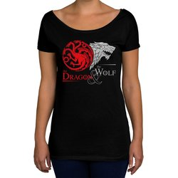 Damen T-Shirt U-Boot-Ausschnitt - GoT - Dragon & Wolf