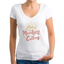 Damen T-Shirt V-Ausschnitt - Mountains are calling