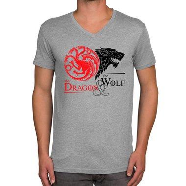 online store d8953 c7068 Herren T-Shirt - V-Ausschnitt - GoT - Dragon & Wolf