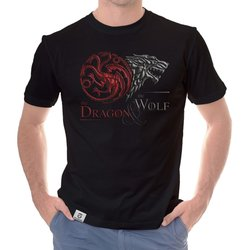 Game of Thrones - Herren T-Shirt -  Dragon & Wolf Wappen