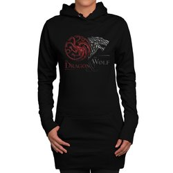 Game of Thrones - Damen Long Hoodie - Dragon and Wolf Wappen