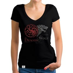 Game of Thrones - Damen T-Shirt V-Ausschnitt - Dragon and...