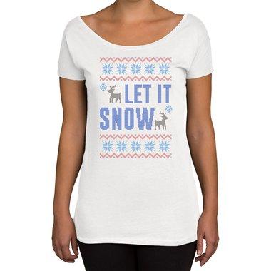 let it snow damen t shirt u boot ausschnitt. Black Bedroom Furniture Sets. Home Design Ideas