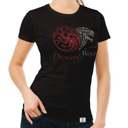 Game of Thrones - Damen T-Shirt - Dragon and Wolf Wappen