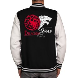 Herren College Jacke - GoT - Dragon & Wolf