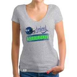 Damen T-Shirt V-Ausschnitt - Seahawk - Emerald City