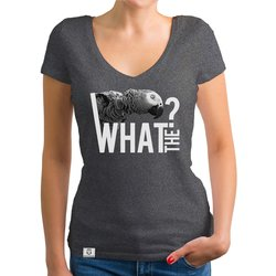 Damen T-Shirt V-Ausschnitt - What the? - Glitzer...