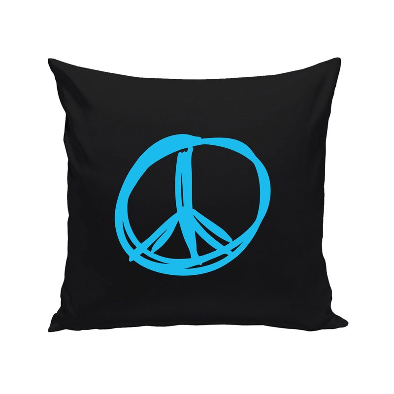 schwarze dekokissen peace frieden zeichen. Black Bedroom Furniture Sets. Home Design Ideas