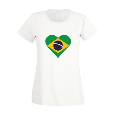 Damen T-Shirt Brasilien Love Heart