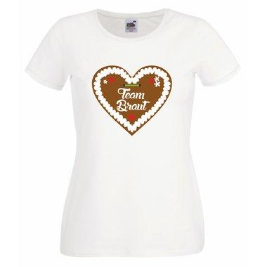 Team Braut Lebkuchenherz Damen T Shirt Junggesellenabschied