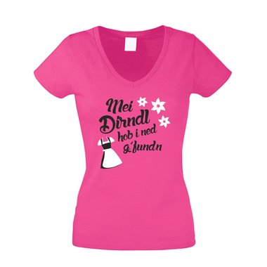 Wiesn T-Shirt - Damen V-Neck - Mei Dirndl hob i ned g´funden