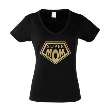 Damen T-Shirt V-Ausschnitt - Super Mom