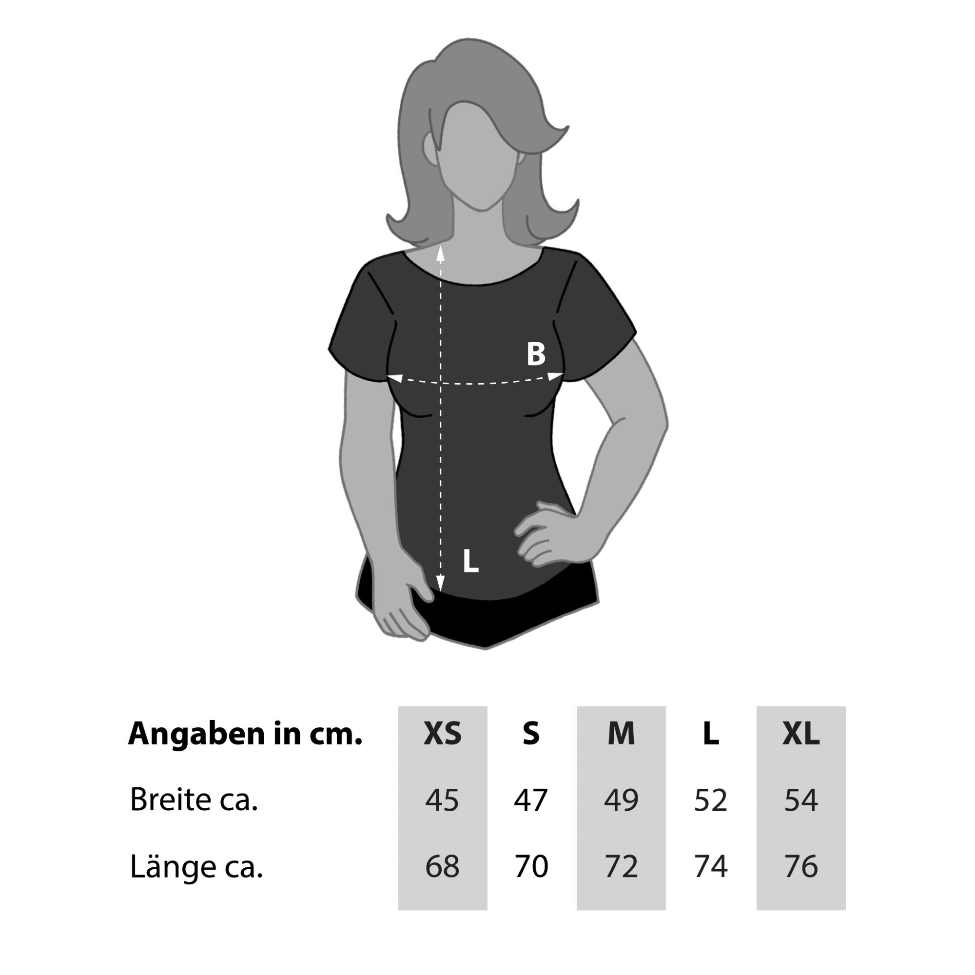 Größentabelle Damen T-Shirt U-Boot-Ausschnitt
