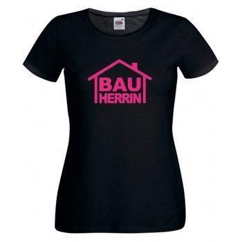 Bauherrin T-Shirt - Damen T-Shirt BAUHERRIN für den Bau schwarz