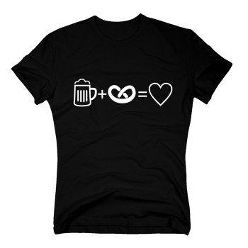 schwarzes Herren T-Shirt: Bier + Brezel = Herz