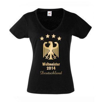 Weltmeister 2014 Deutschland - Damen T-Shirt V-Ausschnitt - schwarz