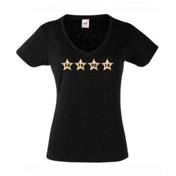 54, 74, 90, 14 - Damen T-Shirt mit Sternen, V-Ausschnitt - schwarz