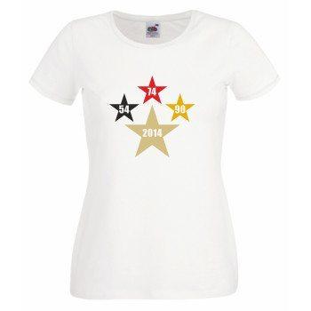 54, 74, 90, 2014 - Damen T-Shirt mit Sternen - weiß