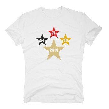 54, 74, 90, 2014 - Herren T-Shirt mit Sternen - weiß