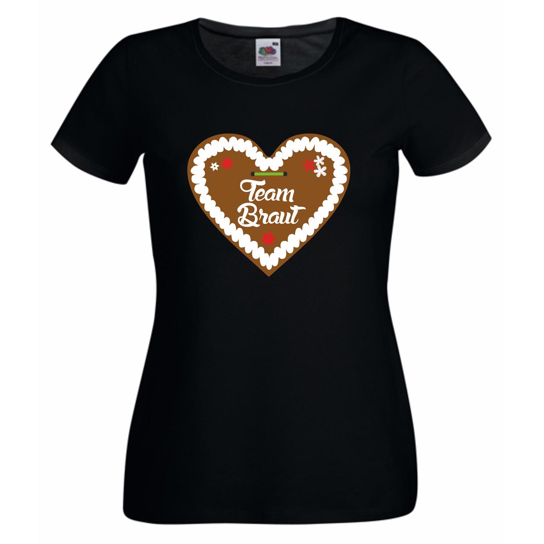 damen t shirt team braut junggesellenabschied lebkuchen herz neu xs 2xl ebay. Black Bedroom Furniture Sets. Home Design Ideas