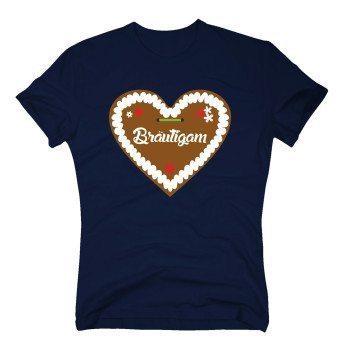 Bräutigam - Herren T-Shirt mit Lebkuchenherz - dunkelblau
