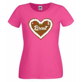 Lebkuchenherz Braut - Damen T-Shirt Junggesellenabschied