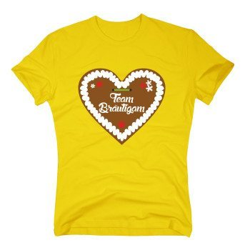 Team Bräutigam - Herren T-Shirt mit Lebkuchenherz - gelb