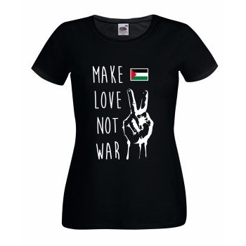 Make love not war - Damen T-Shirt mit Palästinaflagge - schwarz