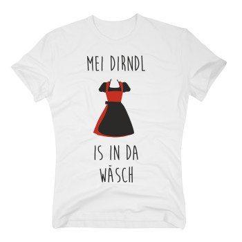 Oktoberfest T-Shirt Herren - Mei DIRNDL is in da Wäsch weiss