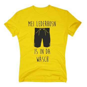 Mei Lederhosn is in da Wäsch - Herren T-Shirt - gelb