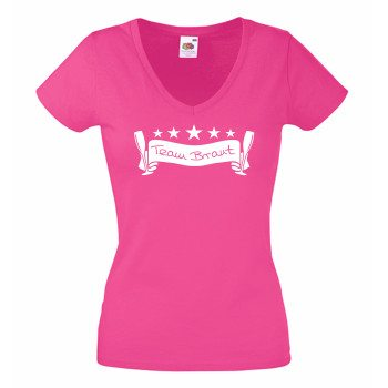 JGA T Shirts - Damen T-Shirt V-Ausschnitt Team Braut Junggesellenabschied pink