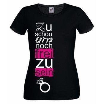 JGA Shirt - Damen T-Shirt - Zu schön um noch frei zu sein - Junggesellenabschied schwarz