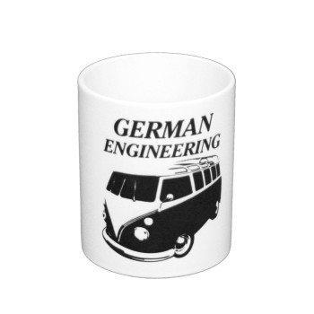 German Engineering - Kaffeebecher mit Bulli - weiß