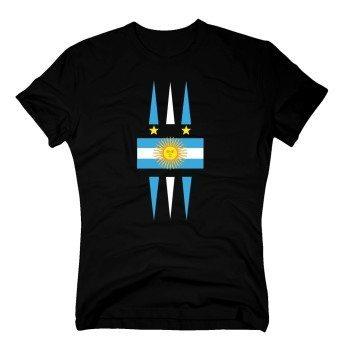 Herren T-Shirt mit Argentinienflagge - schwarz