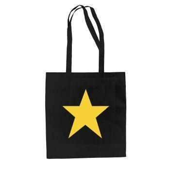 schwarzer Jutebeutel mit Stern