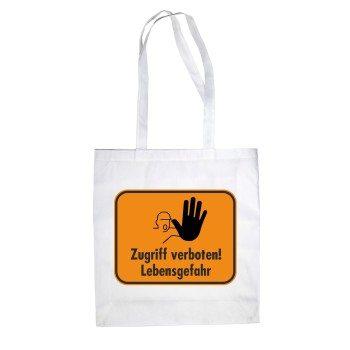 Zugriff verboten Lebensgefahr - Jutebeutel - weiß