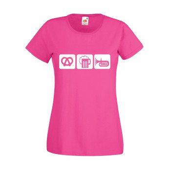 pinkes Damen T-Shirt: Brezel, Bier, Horn