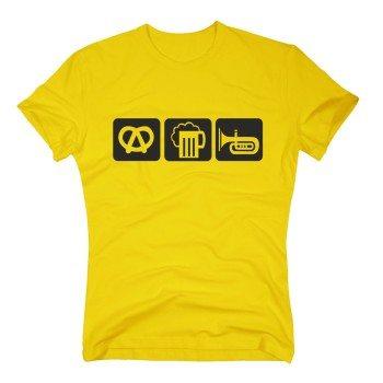 gelbes Herren T-Shirt: Brezel, Bier, Horn