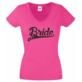 Bride T-Shirt Damen V-Ausschnitt - Bride stylische Sterne JGABride T-Shirt Damen V-Ausschnitt - Bride stylische Sterne JGA