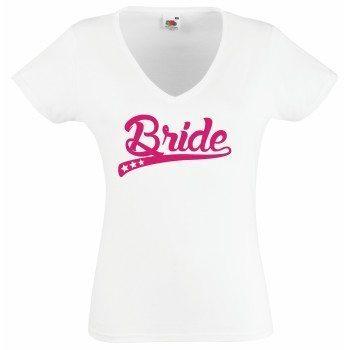 Bride T-Shirt Damen V-Ausschnitt - Bride stylische Sterne JGA