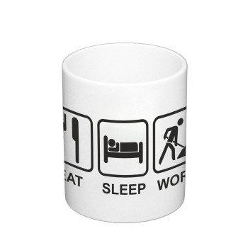 Eat Sleep Work - Kaffeebecher - weiß