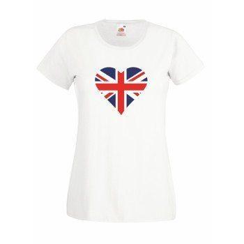 Damen T-Shirt mit englischer Flagge in Herzform - weiß