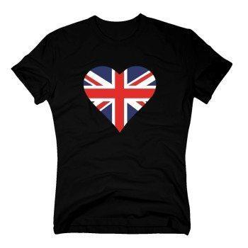 Herren T-Shirt mit englischer Flagge in Herzform - schwarz