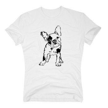 Herren T-Shirt mit Bulldogge - weiß
