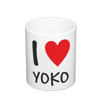 I Love Yoko - Kaffeebecher - weiß